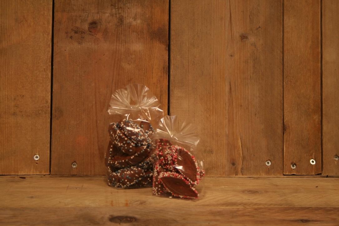 Geboorte chocolade spekken roze/blauw