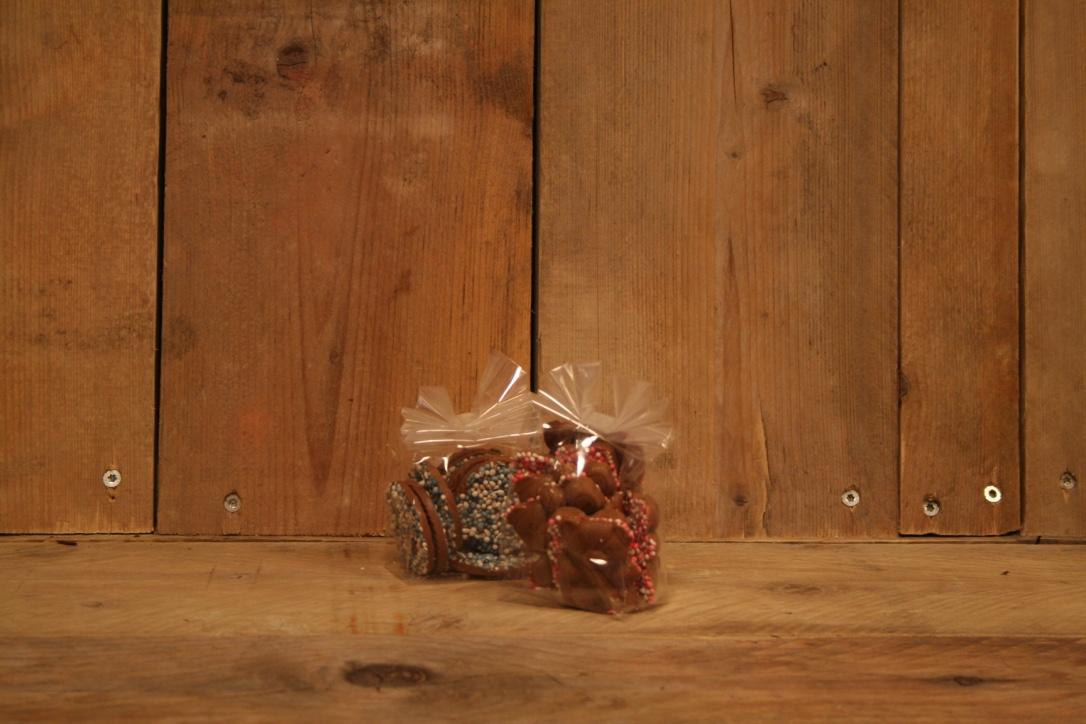 Geboorte chocolade beertjes roze/bauw