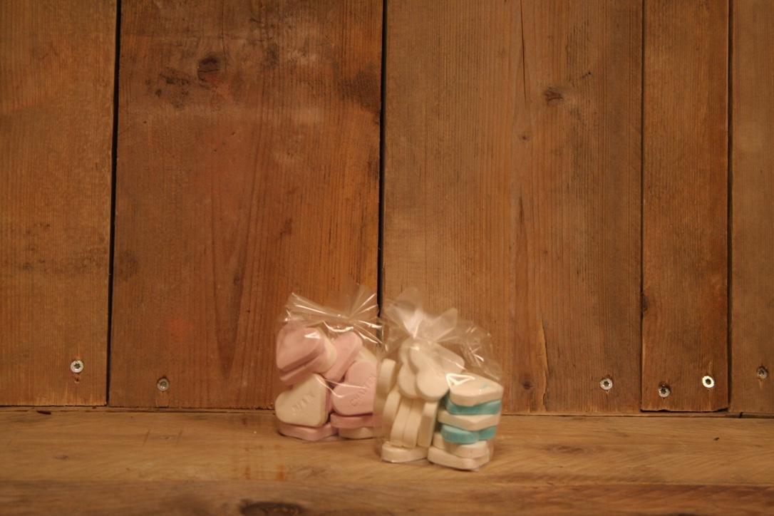 Geboorte harten blauw/wit of roze/wit