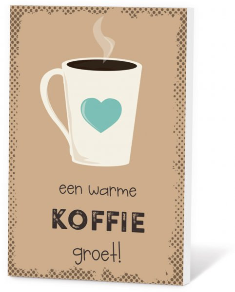 Koffiekaart een warme koffie groet